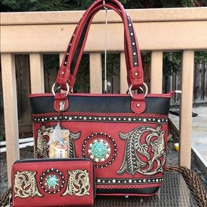 Montana West PU leather Red Handbag+ Wallet Set